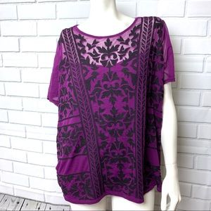INC 2x embroidered top